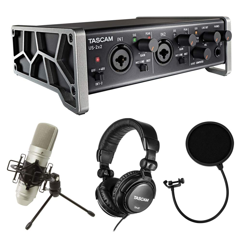 Tascam Trackpack 2x2 Recording Package with Pop Filter Bundle