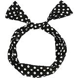 FENTI Damen Maedchen Haarband POLKA DOTS Rockabilly Draht biegbar Bunny Ohr binden Bow Stirnband Haarschmuck Geschenk Gift Schwarz mit Weiss