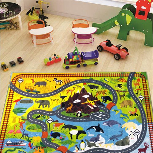 KC CUBS Playtime Collection Animal Safari Road Map Educational Learning & Game Area Rug Carpet for Kids and Children Bedrooms and Playroom (8'2'' x 9'10'') by KC CUBS (Image #1)