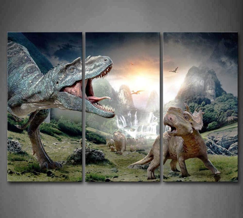 Cnvuos Dinosaur Openmouth Mit Cub Wandkunst Diamant Malerei 3 st/ücke Set Bilder Tier Das Bild von Strass F/ür Home Modern Decor