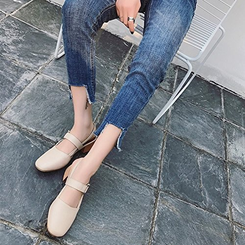 tacón 39 y con de alto Zapatos sandalias verano zapatos cierre hembra zapatos HRCxue con cabeza Baotou 38 individuales ranurado cuadrada de 1Tn0Rq