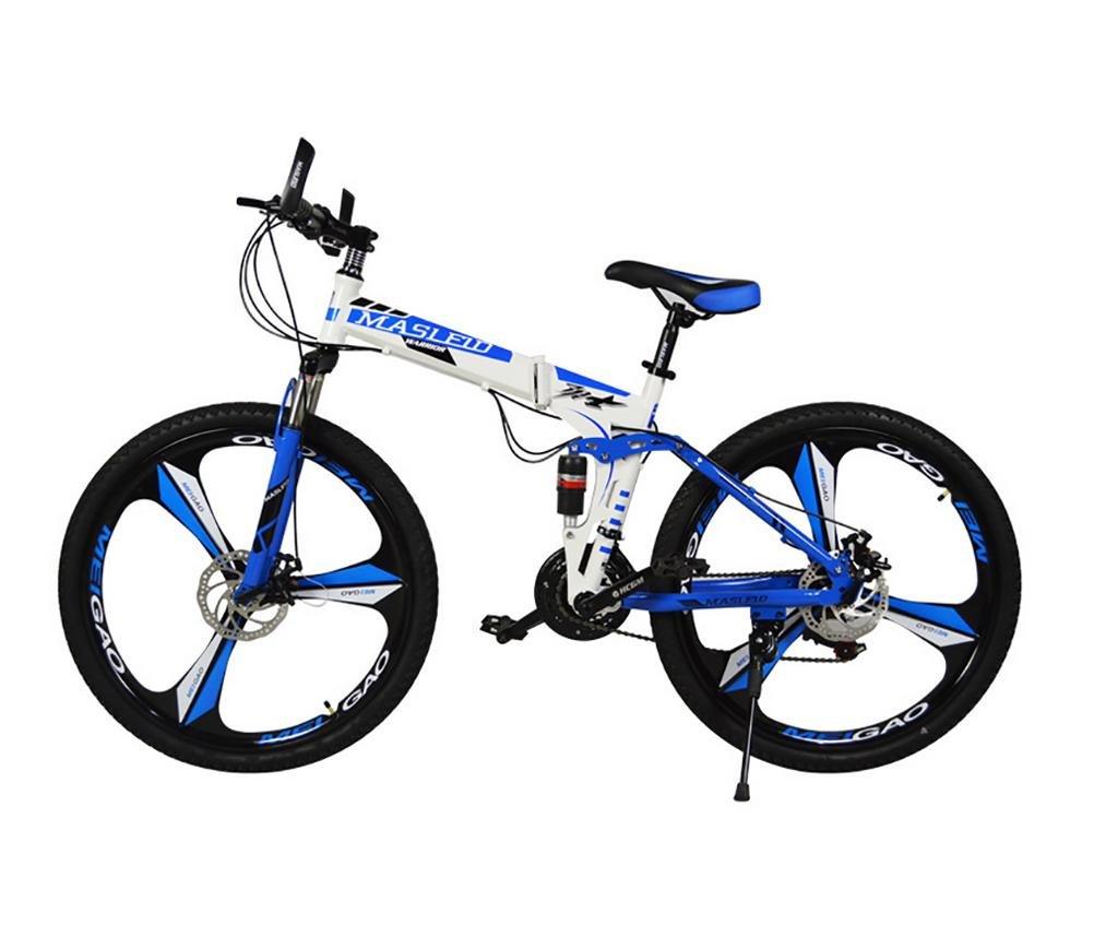 MASLEID 26 pulgadas bicicleta plegable, bicicleta de montaña, 27 velocidades, blanco, negro, azul, rojo , blue2: Amazon.es: Deportes y aire libre