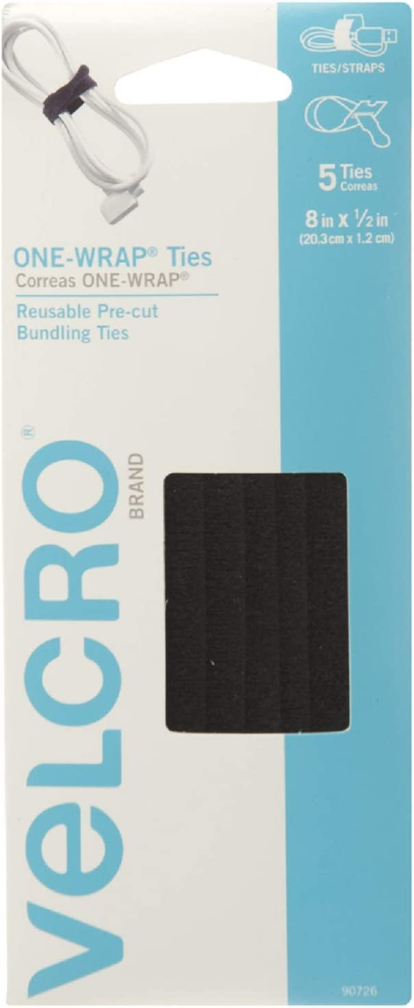 """VELCRO Brand ONE-WRAP Bundling Strap – Reusable Fasteners for Keeping Cords and Cables Tidy - 8"""" x 1/2"""", 5 Ties, Black"""