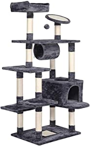 Topeakmart 62in Multi-Level Cat Tree Tower Furniture Kitten Condo Kitty Pet Activity Play House with Sisal-Covered Scratching Posts, Plush Perches Platform and Tunnel
