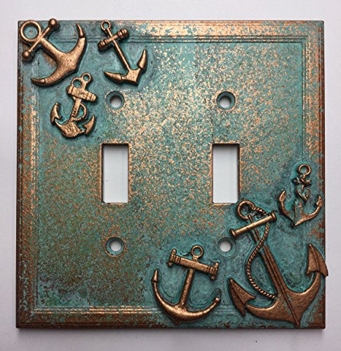 Bathroom Light Double (Anchors Double Light Switch Cover (Aged Patina))