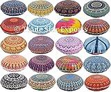 Set Of 10 Indian Mandala Pillow Cover, 32'' Round Cushion, Ethnic Floor Pillow Case, Boho Cushion Cover, Decorative Outdoor Pillows, Pom Pom Pillow Sham