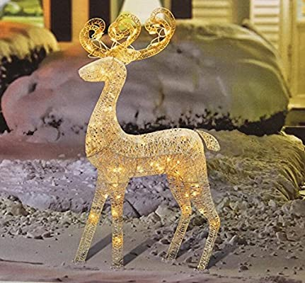 northlight 48 lighted white glitter standing buck christmas outdoor decoration - Outdoor Christmas Reindeer Decorations Lighted