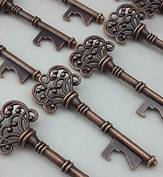 Copper Skeleton Key Bottle Opener Bridal Shower Wedding Favor Gift Alice in wonderland