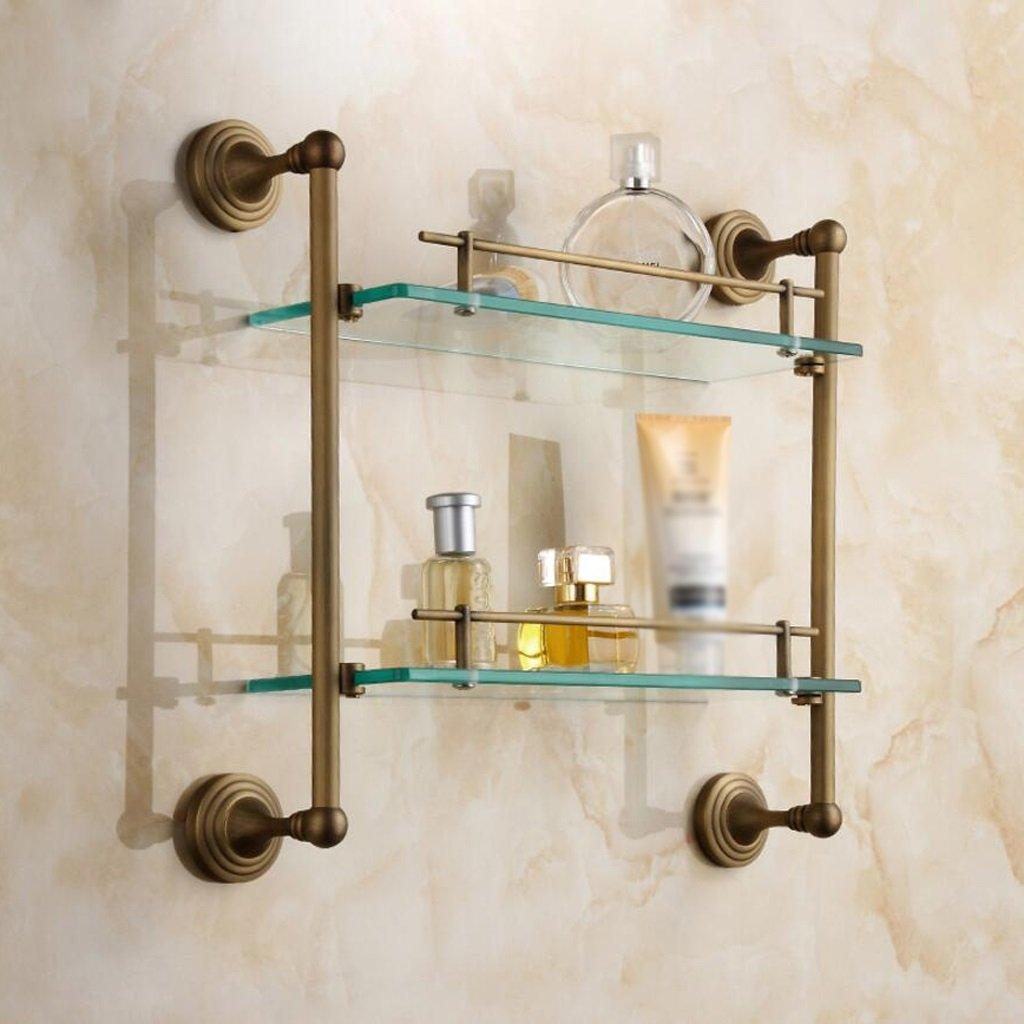 KKY-ENTER タオルラック クリエイティブビンテージ浴室黄銅の壁は、二重釉薬バスケット化粧品ラックハードウェアペンダントをマウント B078NTMVH3