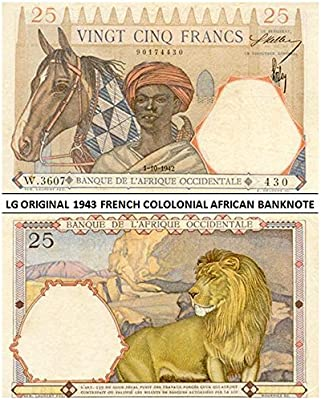 1000510ba345 1943 FR SUPERB COLONIAL FRENCH WEST AFRICA BANKNOTE w LION! BEAUTIFUL  PASTEL COLORS 25 Francs Crisp Extra Fine at Amazon s Collectible Coins Store