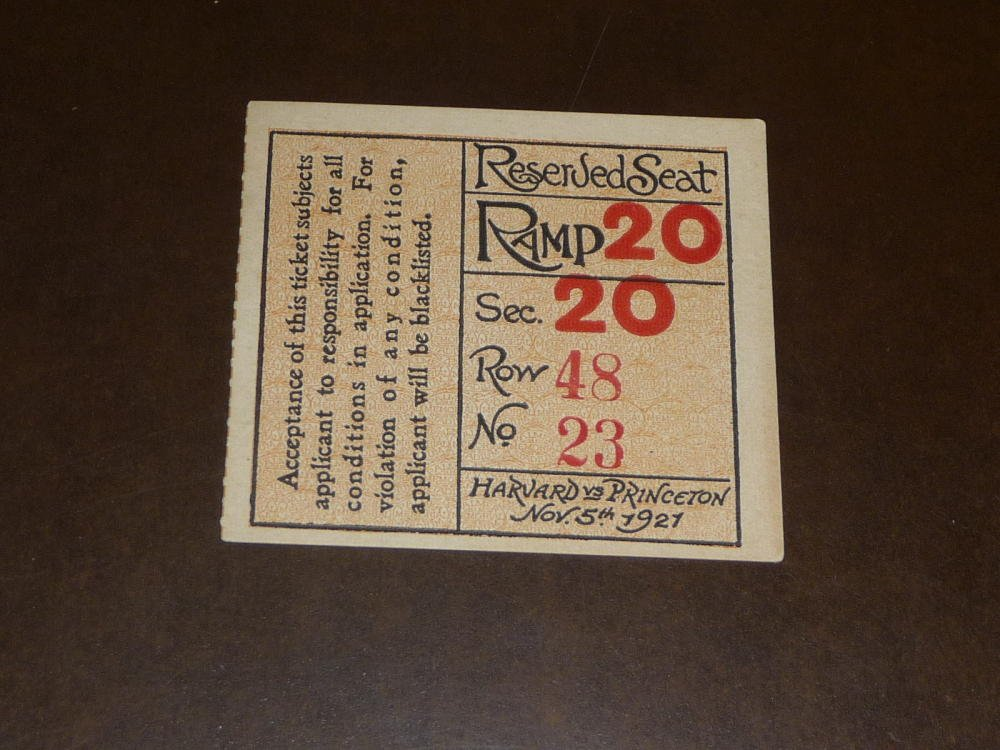 1921 HARVARD VS PRINCETON COLLEGE COLLEGE FOOTBALL TICKET STUB