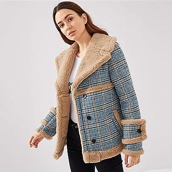 QZHE Gabardina para Mujer Chaqueta De Abrigo De Tweed De Las Mujeres del Bolsillo De Un