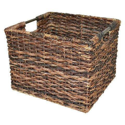 Wicker Large Milk Crate - Dark Global Brown - Threshold (Wicker Cube)