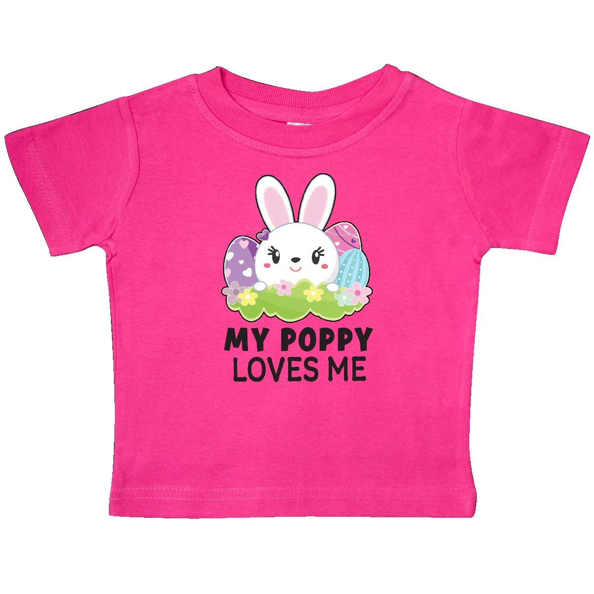 inktastic My Poppy Loves Me with Bunny and Easter Eggs Baby T-Shirt