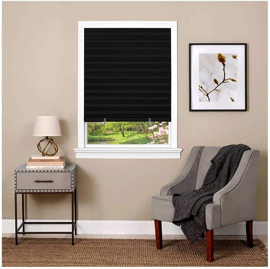 36-Inch x 75-Inch Cordless 1-2-3 Achim Home Furnishings Black Vinyl Room Darkening Pleated Window Shade