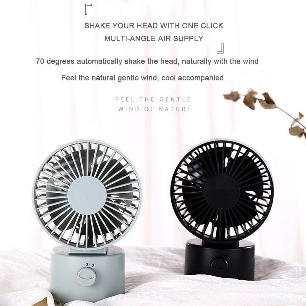 YUHUANG Ventilatore USB, Ventilatore USB Silenzioso Twin-Blade, Ufficio, Dormitorio Domestico, Nero Bianco Marrone Bianco White