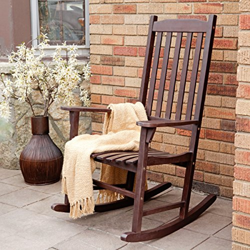 Coral Coast Indoor or Outdoor Mission Slat Rocking Chair Dark Brown by Coral Coast