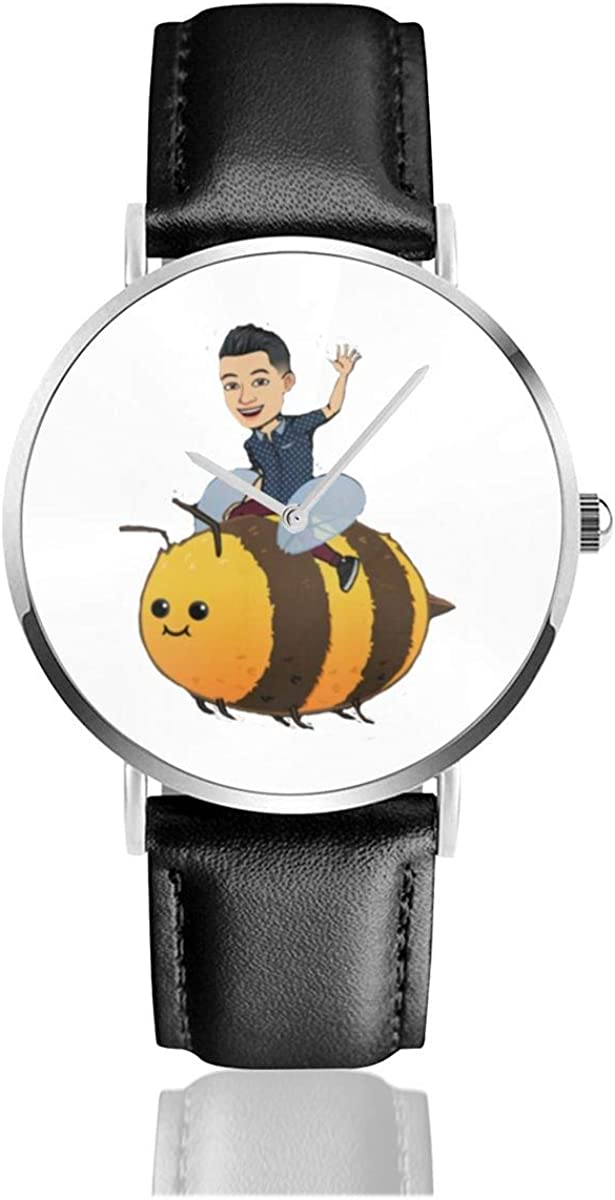 Brave Horsemen On Bee Men Wrist Watches Genuine Leather For Gents Teenagers Boys