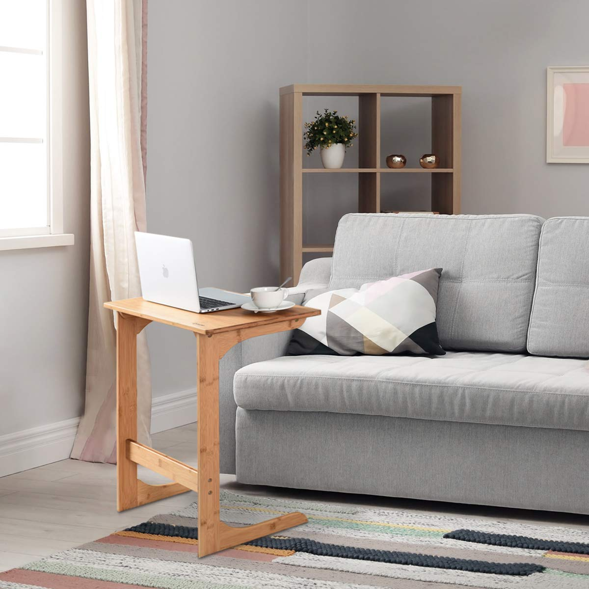 Tangkula Bamboo Sofa Side Table, TV Tray Couch Coffee Snack End Table Bed Side Table, Laptop Desk Modern Furniture for Home Office