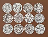 24 PC Edible Lace - 4 Designs Filigree Flower Stencil Lace Doily - Cupcake, Cake, Cake Pop, Petite Four, Coffee, or Tea