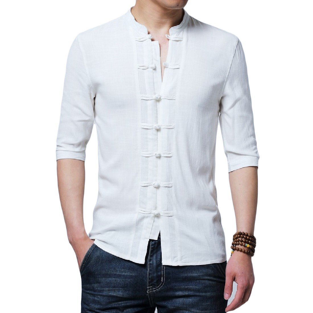 YUNY Mens Pure Color Business Linen Stand Collar Polo Top Shirt White 3XL
