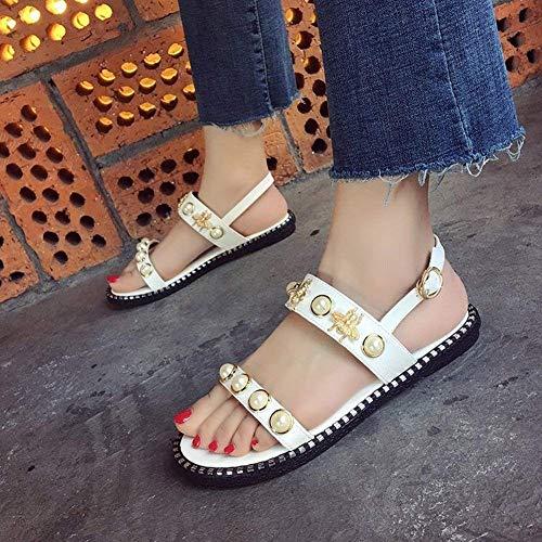 Oudan Sandales Taille Plates Boucle coloré Confortable Noir Pantoufles 35 Fashion Cool Pearl Plate Princesse Étudiante Bee Blanc rrwqT6