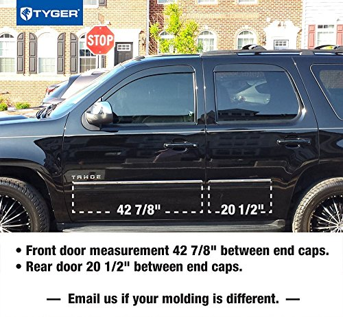 Works with 2010-2014 Chevy Suburban//GMC Yukon XL Rocker Panel Chrome Stainless Steel Body Side Moulding Molding Trim Cover 4.25 Full Width 4PC Overlay Made in USA