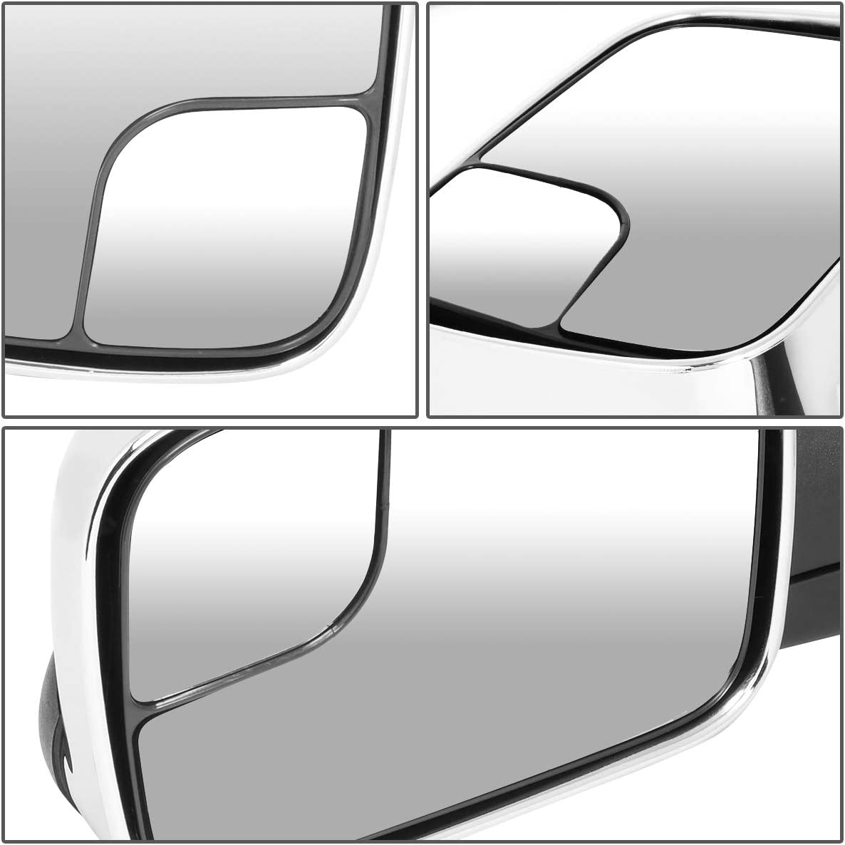 DNA MOTORING TWM-011-T222-CH Pair Chrome Cover Manual Flip Up Towing Mirror Replacement Chrome//Black