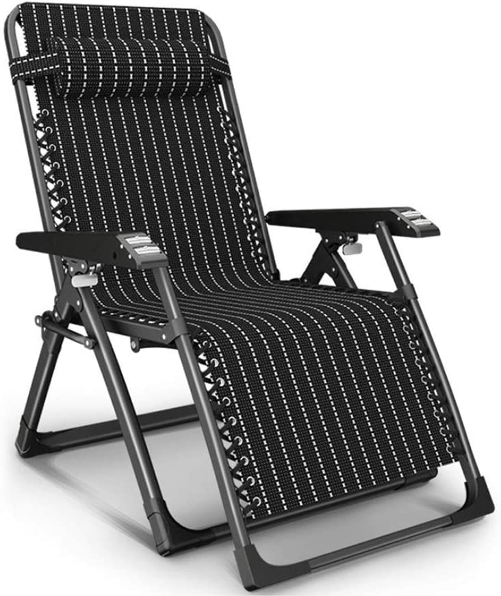 Heavy Duty Garden Chair Zero Gravity Sun Lounger Foldable, Reclining Recliner Chairs Chaise Lounge Deckchairs Waterproof and Lightweight Metal for Patio Furniture Outdoor Office, 178x67x47cm, Black L1