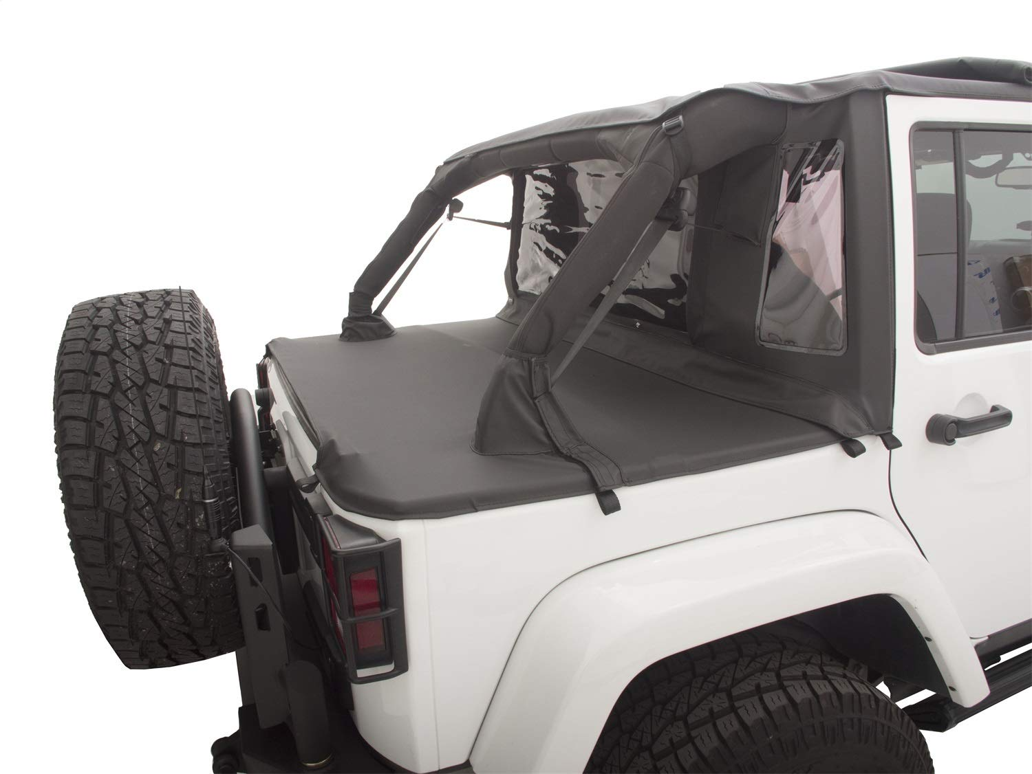 Jeep Wrangler Soft Top >> Rampage Products 990135 Black Trailview Soft Top With Tonneau Style Rear Cover For Jeep Jk Unlimited 4 Door 2007 2017