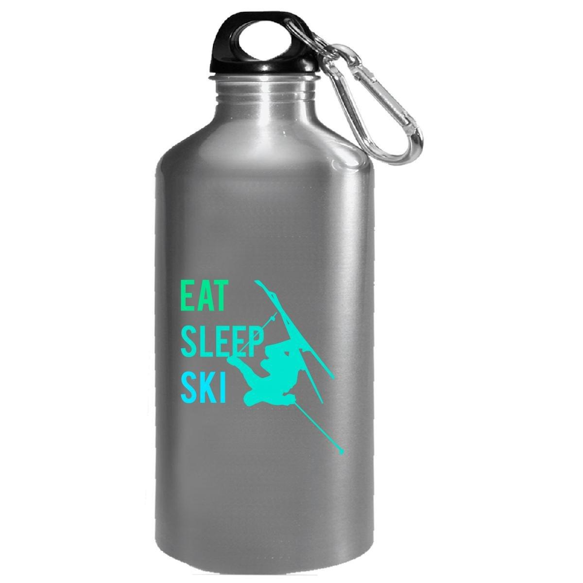 Eat Sleep Ski Extreme Sports Mountain Skiing Skier Winter - Water Bottle by VONC