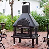 Bronze Square Portable Fireplace with Free Cover 4 ft. Made From Steel and Traditional Style Included Cross Scented Candle Tart