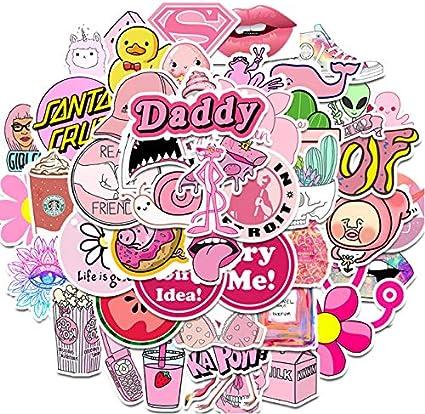 50PCS Pink Cute Lovely Sticker Sticker Graffiti Stickers para DIY Sticker en Estuche de Viaje Laptop Skateboard Guitarra Nevera teléfono: Amazon.es: Coche y moto