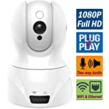 WiFi Wireless IP Camera for Home/Shop Security Surveillance, 1080P HD Infrared Night Vision Pan Tilt, Support Cellphone APP & Computer, SD Card Recording, Motion Alert, Microphone 2 Way Audio (White)