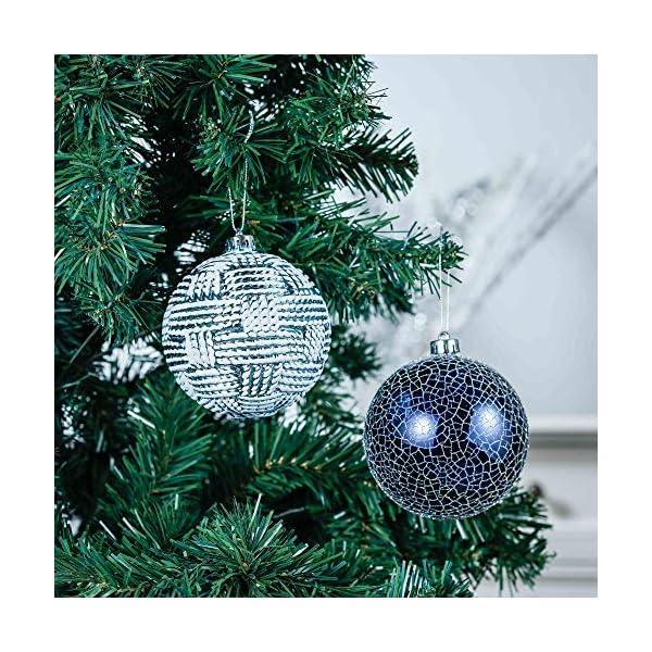 Valery Madelyn Palle di Natale 9 Pezzi 10cm Palle di Natale, Winter Wishes Argento e Blu Infrangibile Palla di Natale Ornamenti Decorazione per la Decorazione Dell'Albero di Natale 4 spesavip