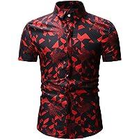Mitiy Camisa de Vestir Ajustada Informal de Negocios, Mangas Cortas, con Botones, Ajustada, para Hombre