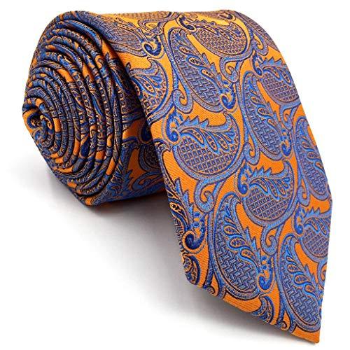 Shlax&Wing Geometric Orange Blue Mens Neckties Ties Fashion Wedding Silk Long (Extra Long Necktie 63