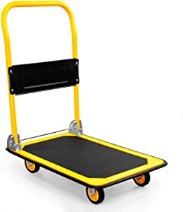MOUNT-IT! Platform Truck | Push Cart Dolly [330lb Weight Capacity] Foldable Flatbed with Swivel Wheels, Rolling Trolley Cart, Foldable, Flat (Yellow)