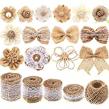 Yaomiao Natural Burlap Flowers Set, Include Lace Burlap Ribbon Roll, Handmade Rustic Burlap Flowers and Twine Ribbon for Wedding Home Embellishment