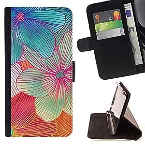 For Sony Xperia Z3 Plus / Z3+ / Sony E6553 (Not Z3) Case , Flor hecha a mano del arte colorido dulce- la tarjeta de Crédito Slots PU Funda de cuero Monedero caso cubierta de piel