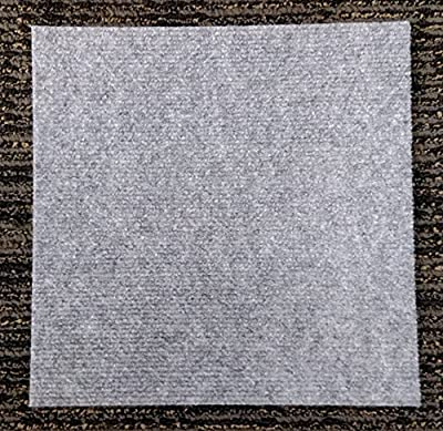 "Case of 120 Square Feet Peel and Stick Gray Carpet Tiles 12""x12"""