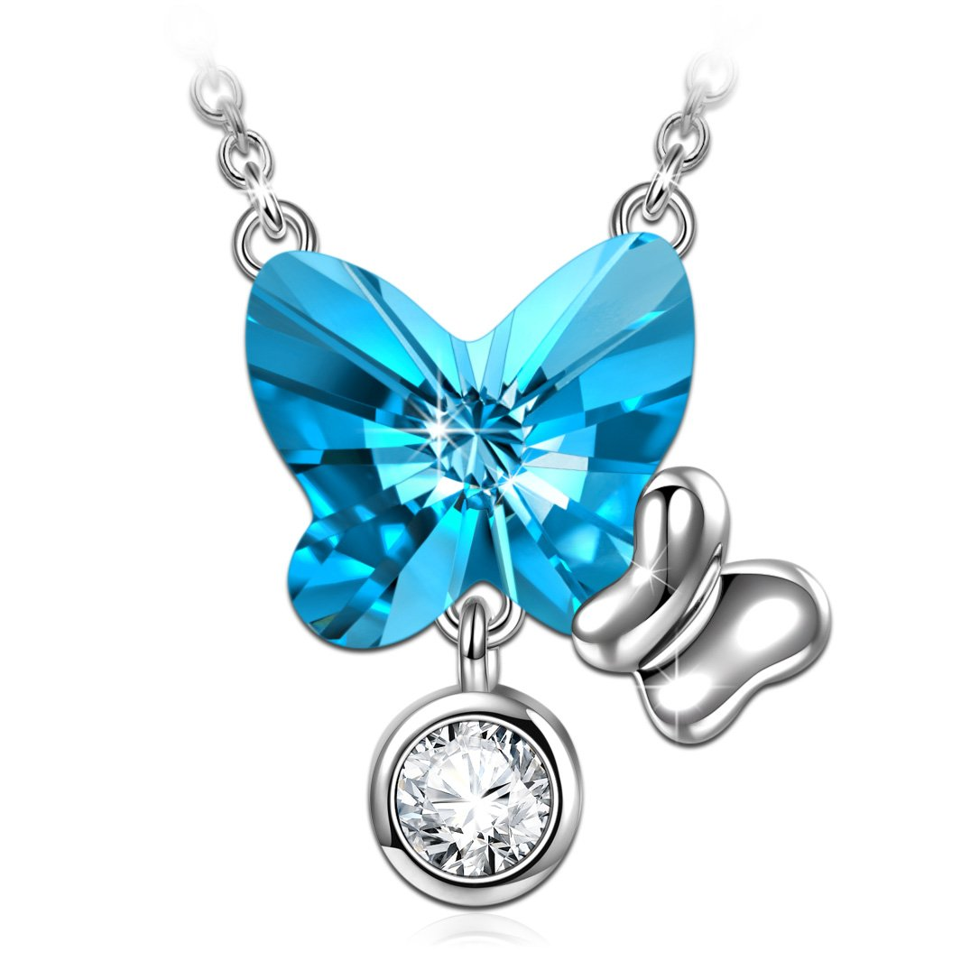 ANGEL NINA s925 Sterling Silver Butterfly Necklace ❤️Loyalty❤ Adjustable Necklaces Make with Aquamarine Swarovski Crystals, Anniversary Birthday Gifts ...