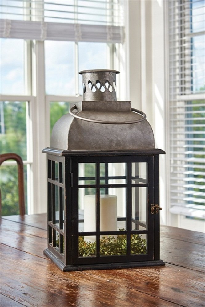 Park Designs Large Tin Top Lantern 22 inches Height x 12 inches Square Black