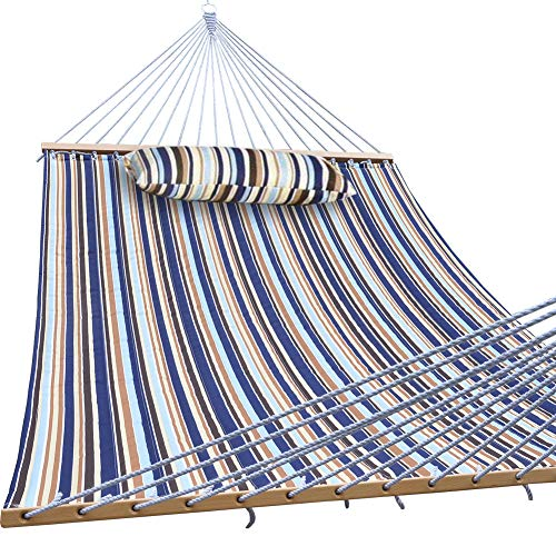 Prime Garden Quilted Fabric Hammock with Spreader Bars and Detachable Pillow, Heavy Duty, 450 Pound Capacity, Accommodates 2 People, Perfect for Indoor Outdoor Patio, Deck, Yard, Blue Brown Stripe