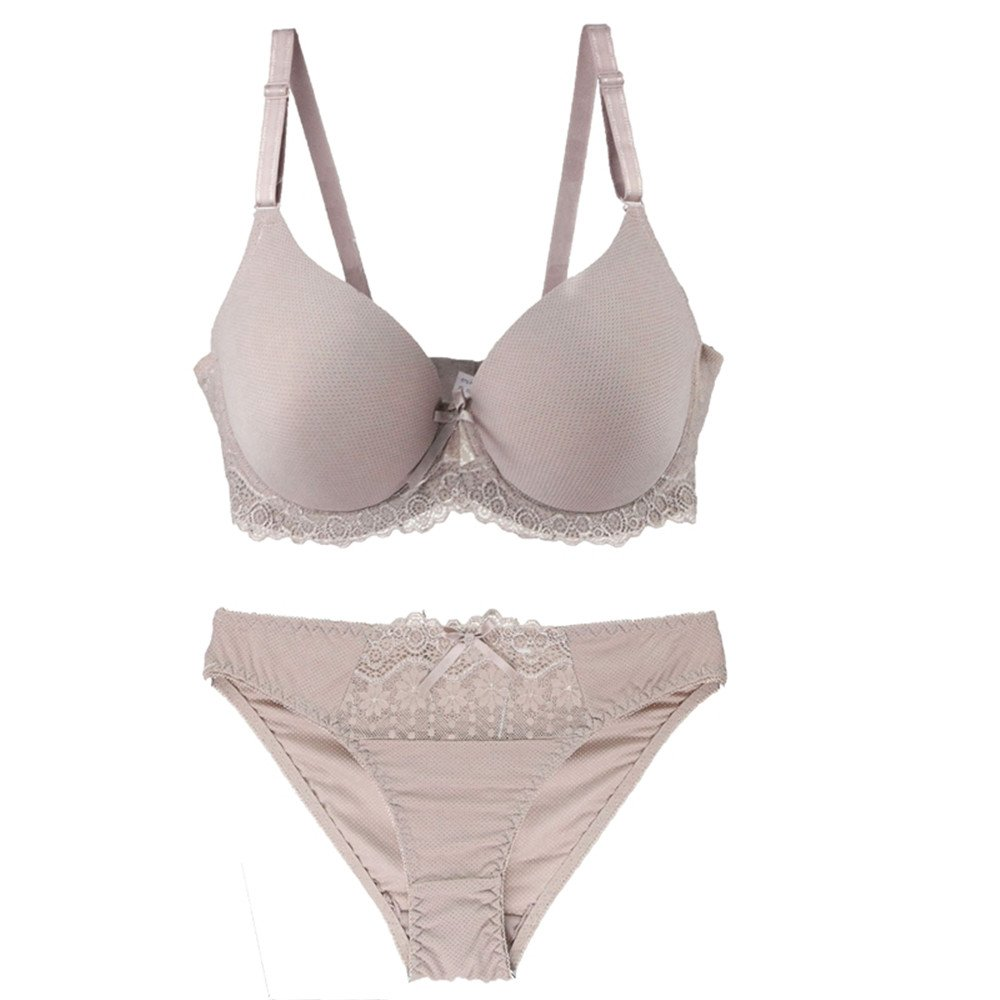 Quoxiao Women Bra Sets Lingerie Solid Color Glossy Bras Underwear Push-Up Padded Cotton Brassiere + Panties Plus Size Khaki 40/90D
