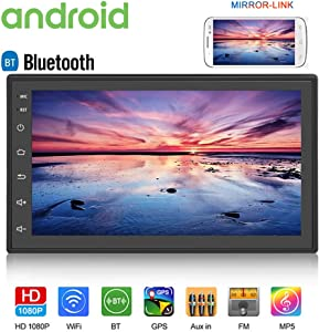 "Android Double Din Car Radio with Bluetooth GPS Navigation WiFi 7"" LCD Touch Screen Head Unit Support iOS Android Phones Mirror Link/Dual USB/FM/Backup Camera Input (Black)"