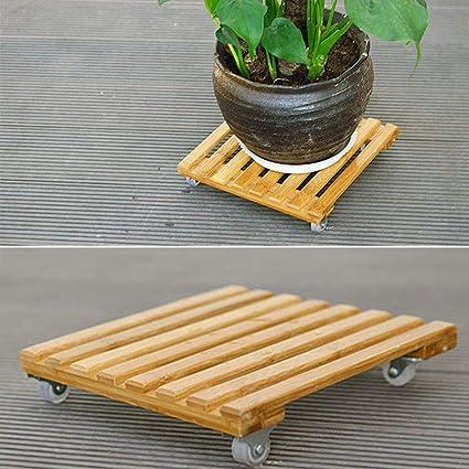 Soporte para macetas, planta de madera Caddy Planta en maceta Soporte con ruedas Estante para macetas redondo sobre rodillos Jardinera para interiores ...