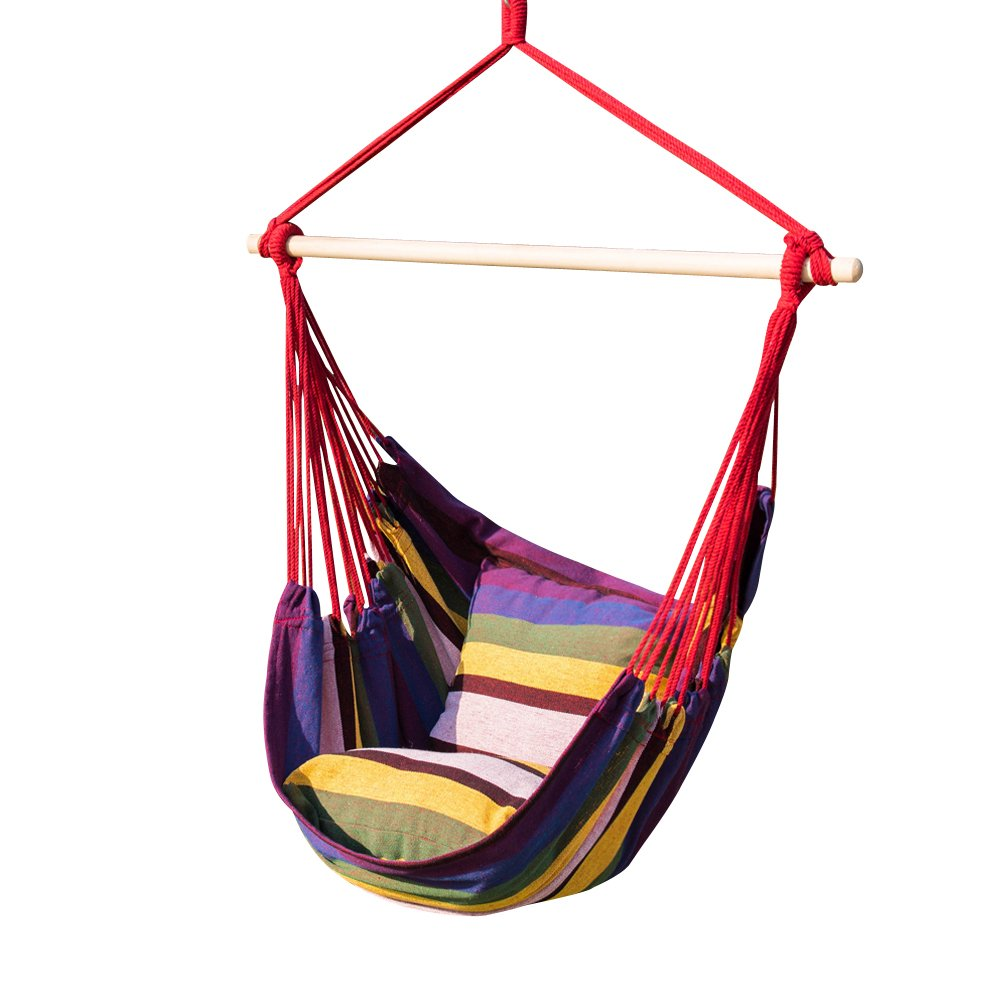 TOUCAN OUTDOOR Hammock Chair with Pillow Set, Rainbow