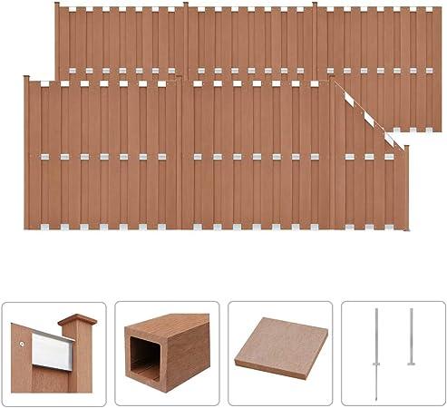 guyifuzhuangs Set de Valla 5 cuadradas + 1 Oblicua 1028x185 cm WPC marrónBricolaje Vallas de jardín Paneles de Vallas: Amazon.es: Hogar