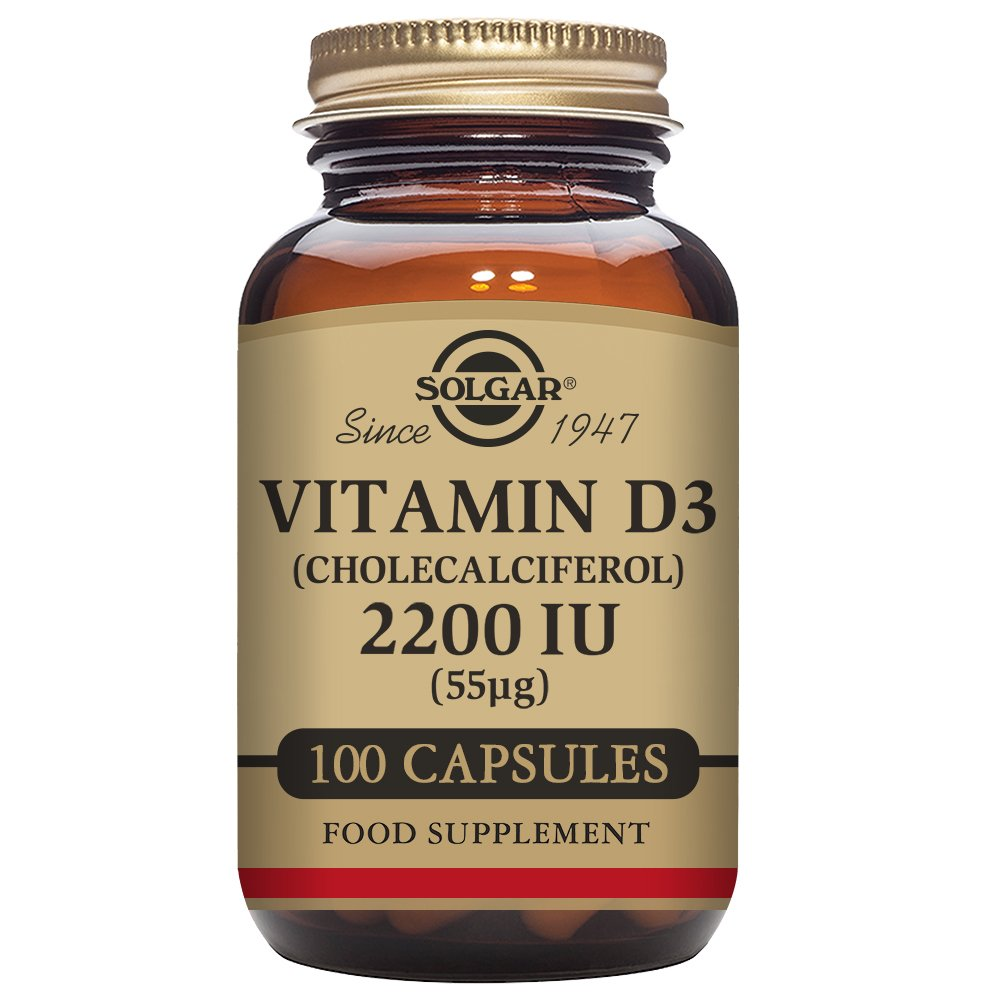 Solgar Vitamin D3 (Cholecalciferol) 2200 IU  (55 µg) Vegetable Capsules - Pack of 100 product image